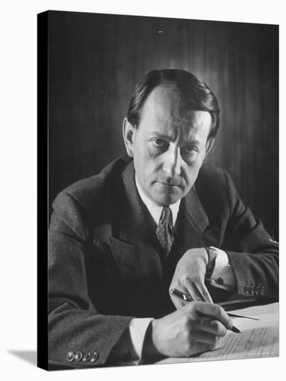 French Author Andre Malraux Working in His Office at RPF Headquarters-Tony Linck-Stretched Canvas Print