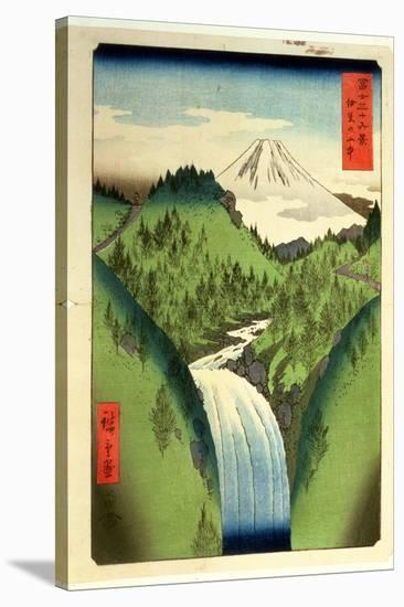 Fuji from the Mountains of Isu, No.22 from the Series '36 Views of Mt.Fuji' ('Fuji Saryu Rokkei')-Ando Hiroshige-Stretched Canvas Print
