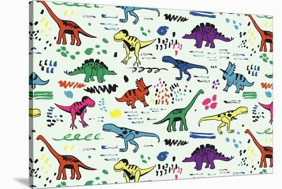 Funny Dinosaurs Graphic Color Vector Pattern-GooseFrol-Stretched Canvas Print