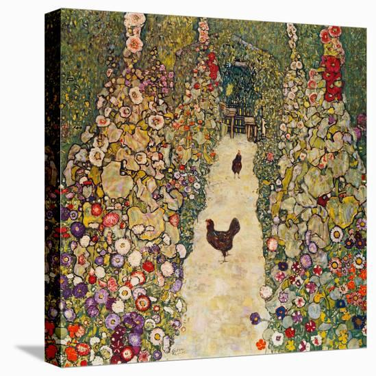 Garden Path with Chickens, 1916, Burned at Schloss Immendorf in 1945-Gustav Klimt-Stretched Canvas Print