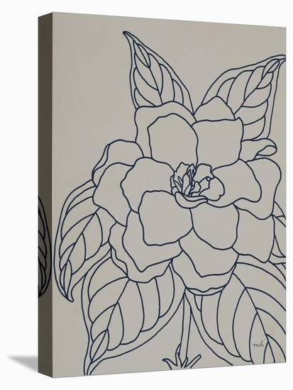 Gardenia Line Drawing Gray Crop-Moira Hershey-Stretched Canvas Print