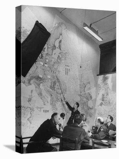 Gen. Eaken in Briefing Session by Intelligence Officer Lt. Parton, Uses Pointer on Huge Map-Margaret Bourke-White-Stretched Canvas Print