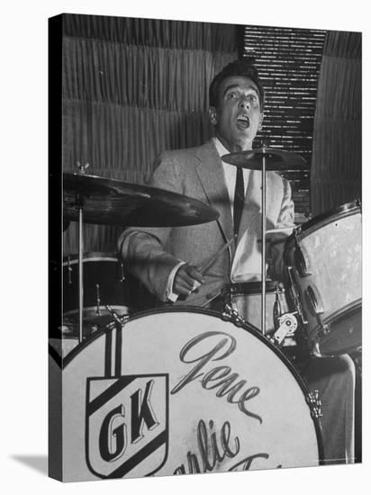 Gene Krupa, American Drummer and Jazz Band Leader, Playing Drums at the Club Hato on the Ginza-Margaret Bourke-White-Stretched Canvas Print