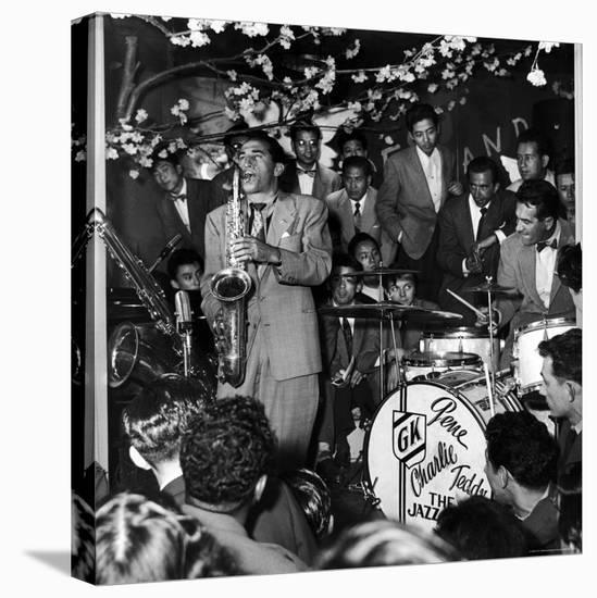 Gene Krupa, American Drummer and Jazz Band Leader, Playing Drums with Saxophonist Charles Ventura-Margaret Bourke-White-Stretched Canvas Print