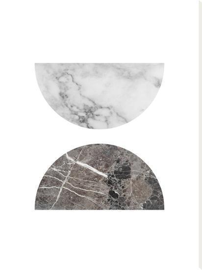Geometric Marble Half Moon Circles--Stretched Canvas Print