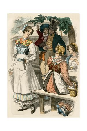 German Middle-Class Family Having Lunch in Munich, 1822--Stretched Canvas Print