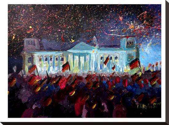 German Reunification Festivities Berlin Reichstag-M Bleichner-Stretched Canvas Print