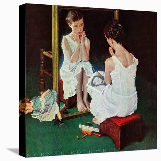 """""""Girl at the Mirror"""", March 6,1954-Norman Rockwell-Stretched Canvas Print"""