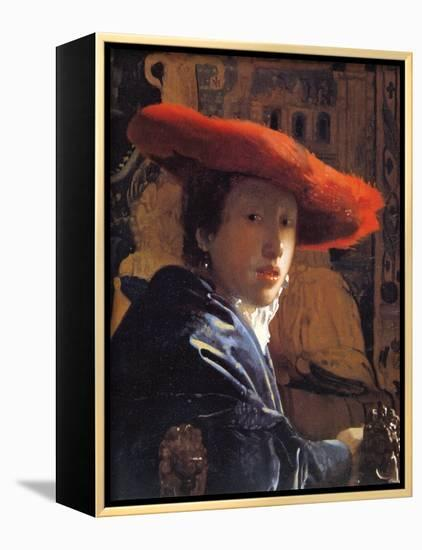 Girl with a Red Hat, C.1665-Johannes Vermeer-Framed Canvas Print