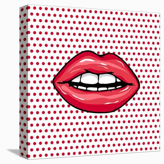 Glossy Pop Art Lips--Stretched Canvas Print