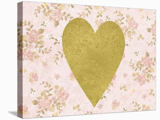 Gold Heart on Pink Floral-Peach & Gold-Stretched Canvas Print