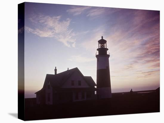 Golden Sunset at Nantucket, Mass. with Sankaty Head Lighthouse Silhouetted Against Sky-Andreas Feininger-Stretched Canvas Print