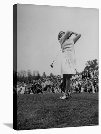 "Golfer Mildred ""Babe"" Didrickson Playing in the Washington Post Golf Tournament-Martha Holmes-Stretched Canvas Print"