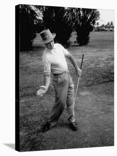 Golfer Sam Snead Demonstrating Sweep of Right Hand in Ben Hogan's Golf Stroke-J. R. Eyerman-Premier Image Canvas