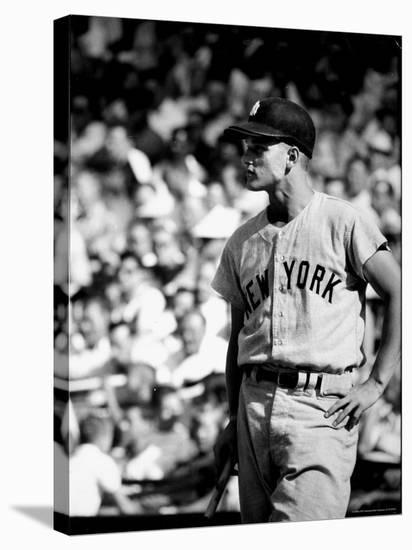 Good Informal Portrait NY Yankees Right Fielder Roger Maris Leaning on Bat During All Star Game-Stan Wayman-Stretched Canvas Print