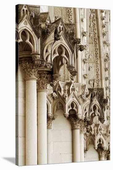 Gothic Cathedral Stone Detail--Stretched Canvas Print