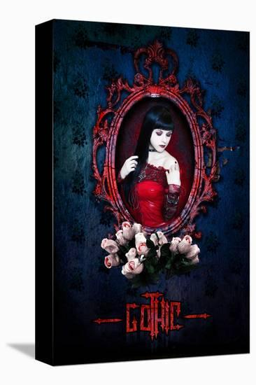 Gothic Girl in Red with roses--Stretched Canvas Print