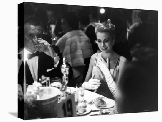Grace Kelly Sitting at Romanoff's-George Silk-Stretched Canvas Print