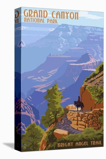 Grand Canyon National Park - Bright Angel Trail-Lantern Press-Stretched Canvas Print