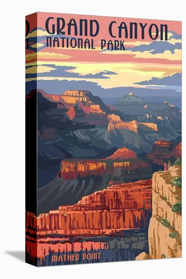 Grand Canyon National Park - Mather Point-Lantern Press-Stretched Canvas Print