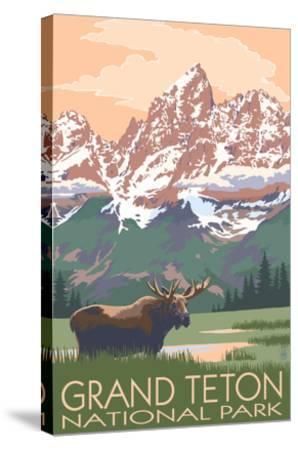 Grand Teton National Park Moose And Mountains Art Print Lantern Press Art Com