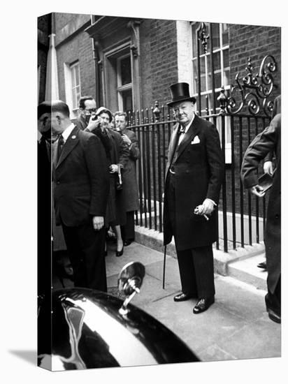 Great Britain's Prime Minister Winston Churchill Leaving His Home-Carl Mydans-Stretched Canvas Print
