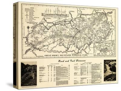 Great Smoky Mountains National Park - Panoramic Map-Lantern Press-Stretched Canvas Print