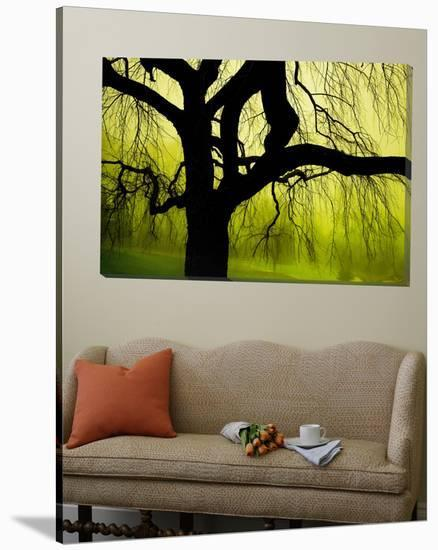 Green and Golden Landscape behind Tree-Jan Lakey-Loft Art