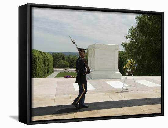 Guard at the Tomb of the Unknown Soldier, Arlington National Cemetery, Arlington, Virginia, USA-Robert Harding-Framed Canvas Print