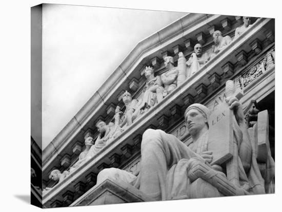 Guardian of Law, Statue Created by Sculptor James Earle Fraser Outside the Supreme Court Building-Margaret Bourke-White-Stretched Canvas Print