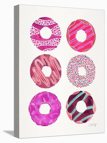 Half Dozen Donuts Magenta-Cat Coquillette-Stretched Canvas Print