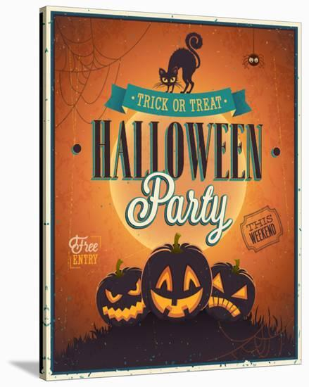 Happy Halloween Party invite--Stretched Canvas Print