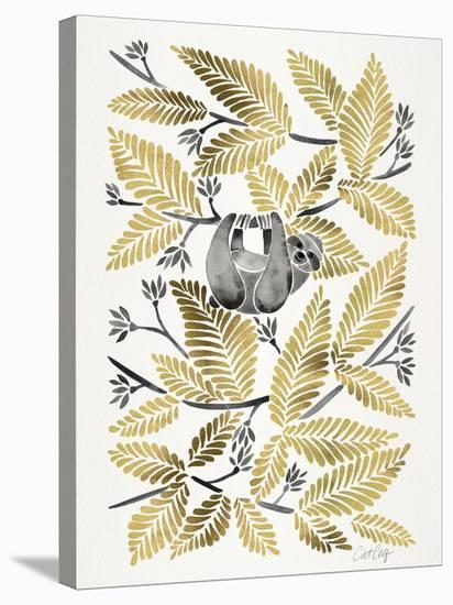 Happy Sloth Gold-Cat Coquillette-Stretched Canvas Print