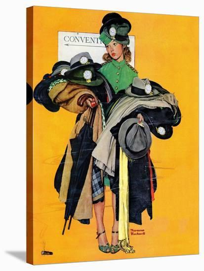 """""""Hatcheck Girl"""", May 3,1941-Norman Rockwell-Premier Image Canvas"""
