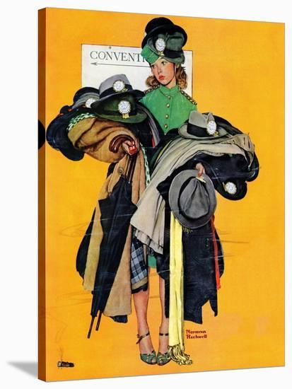 """Hatcheck Girl"", May 3,1941-Norman Rockwell-Stretched Canvas Print"