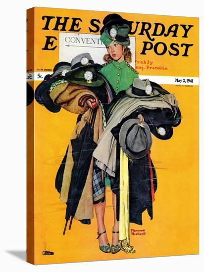 """""""Hatcheck Girl"""" Saturday Evening Post Cover, May 3,1941-Norman Rockwell-Stretched Canvas Print"""