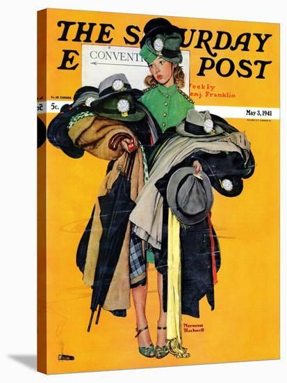 """""""Hatcheck Girl"""" Saturday Evening Post Cover, May 3,1941-Norman Rockwell-Premier Image Canvas"""