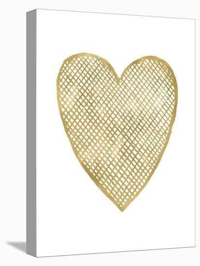 Heart Crosshatched Golden White-Amy Brinkman-Stretched Canvas Print