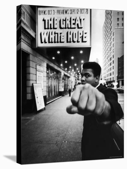 """Heavyweight Boxer Muhammad Ali Outside the Alvin Theater Where """"The Great White Hope"""" is Playing-Bob Gomel-Stretched Canvas Print"""