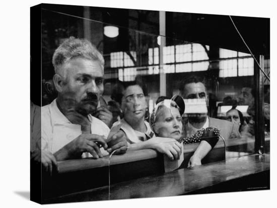Here Waiting Faces Mirror Anxiety as They Hear List of the Survivors of Sinking Ship Andrea Doria-Gordon Parks-Stretched Canvas Print