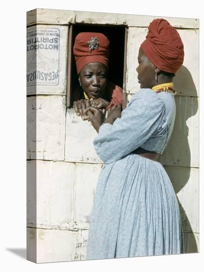 Herero Tribeswomen Wearing Turban and Dangling Earrings, Windhoek, Namibia 1953-Margaret Bourke-White-Stretched Canvas Print