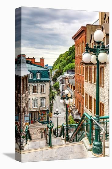 Historic District Old Quebec--Stretched Canvas Print