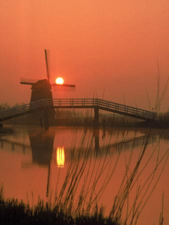 Holland Windmill-Dean Berry-Stretched Canvas Print