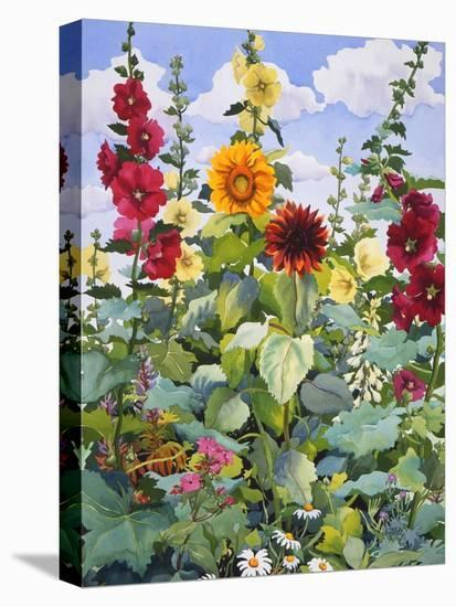 Hollyhocks and Sunflowers, 2005-Christopher Ryland-Stretched Canvas Print