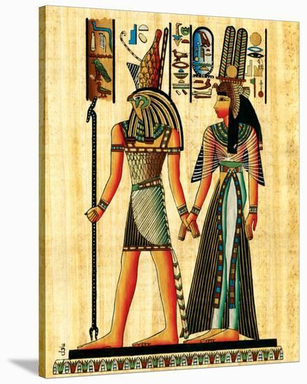 Horus and Nefertiti--Stretched Canvas Print