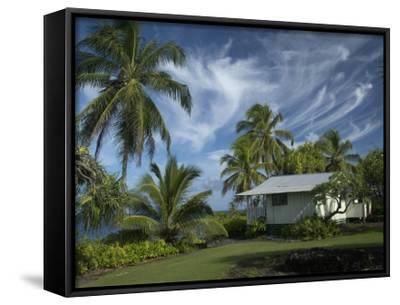 House at Kalahu Point near Hana, Maui, Hawaii, USA-Bruce Behnke-Framed Canvas Print