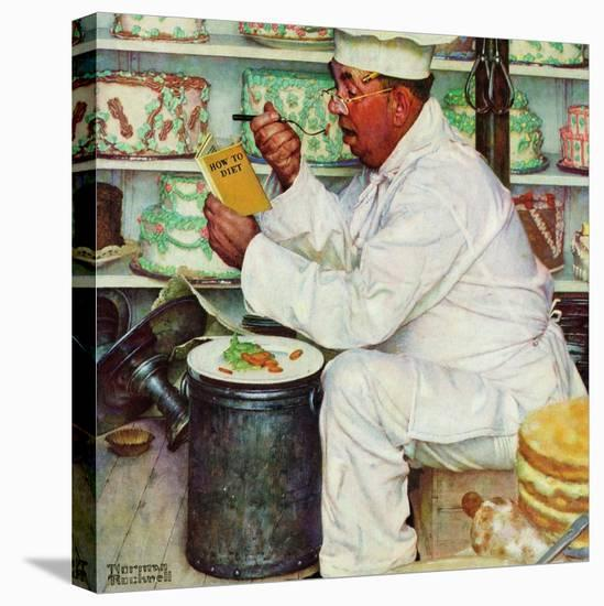 """""""How to Diet"""", January 3,1953-Norman Rockwell-Stretched Canvas Print"""
