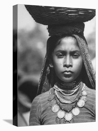 India Native Wearing Traditional Clothing, Carrying Basket on Her Head-Margaret Bourke-White-Stretched Canvas Print