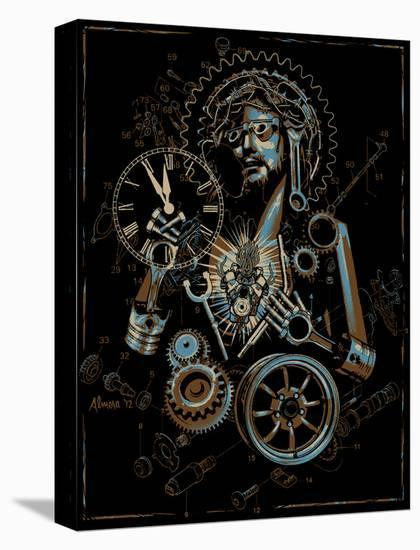 Industrial Christ-Marco Almera-Stretched Canvas Print