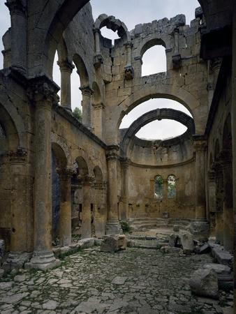 Interior of Eastern Church of Alahan Monastery in Taurus Range, Turkey--Stretched Canvas Print